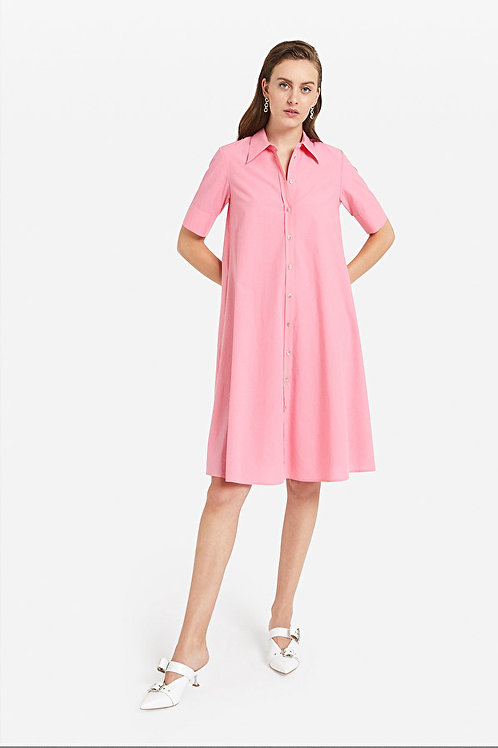 ottod'Ame Pink Poplin Shirtdress