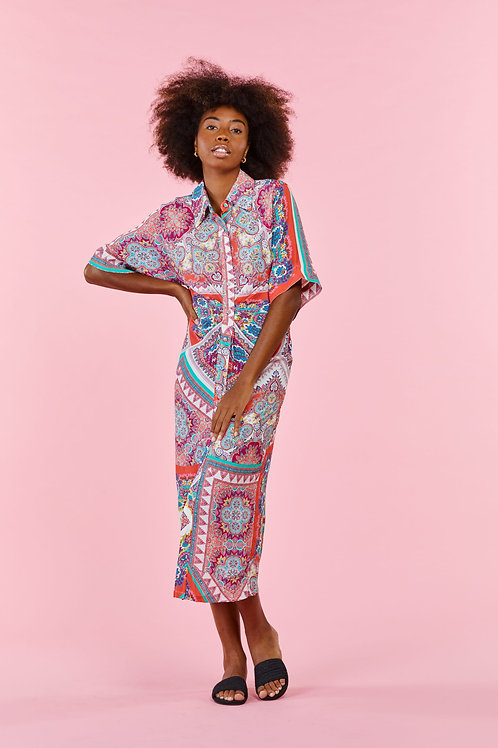 Derhy Coral Paisley Dress