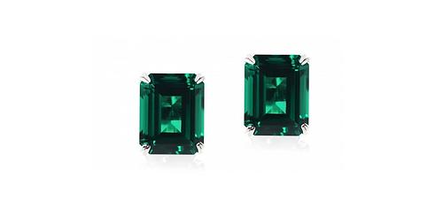 Luxury emerald earrings set in platinum.