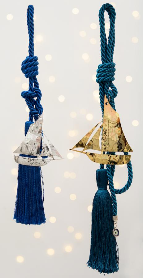 καραβάκι χειροποίητο γούρι - ασήμι & κράμα μετάλλων
