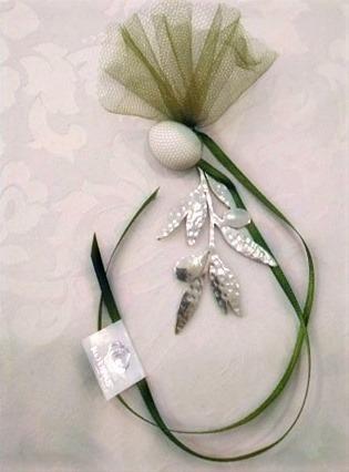 μπομπονιέρα ελιά χειροποίητη - ασήμι & κράμα μετάλλων