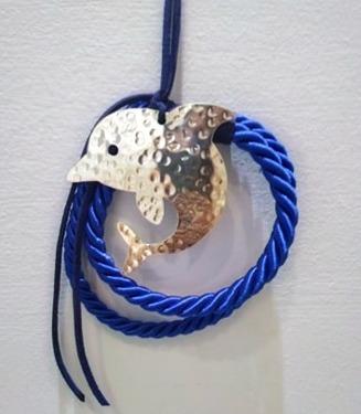 δελφινάκι χειροποίητο - ασήμι & κράμα μετάλλων
