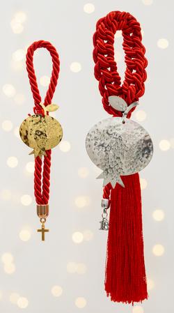 ρόδι χειροποίητο γούρι - ασήμι & κράμα μετάλλων