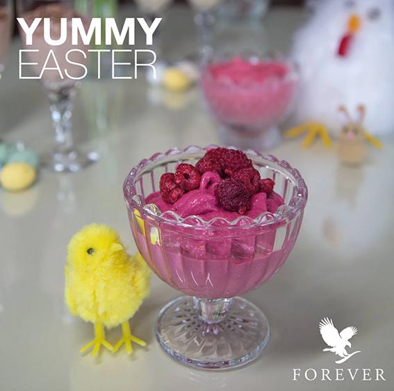 Hindbær Fluffy dessert med Forever Ultra