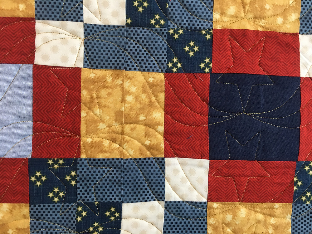 Stars and Ribbons Quilting Pattern on Mix it Up Quilt by Jocelyn Robinson