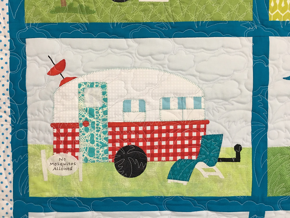 Clouds quilting pattern on Camper Trailer Quilt by Shiela Stuckey
