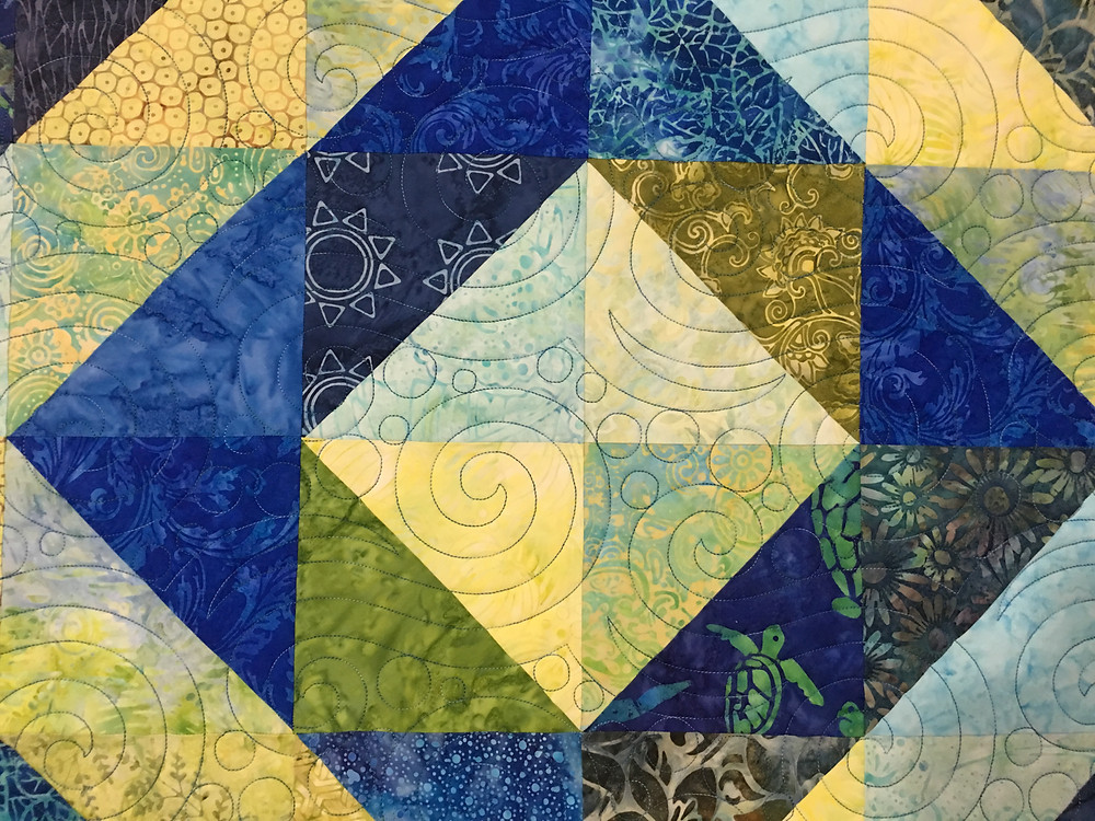 Swirls Quilting Pattern on Square in a Square Quilt by Cindy Manning