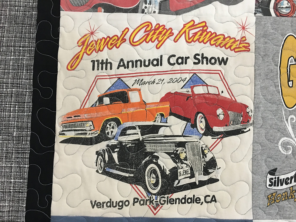 Car Show T Shirt quilt with meander quilting stitching