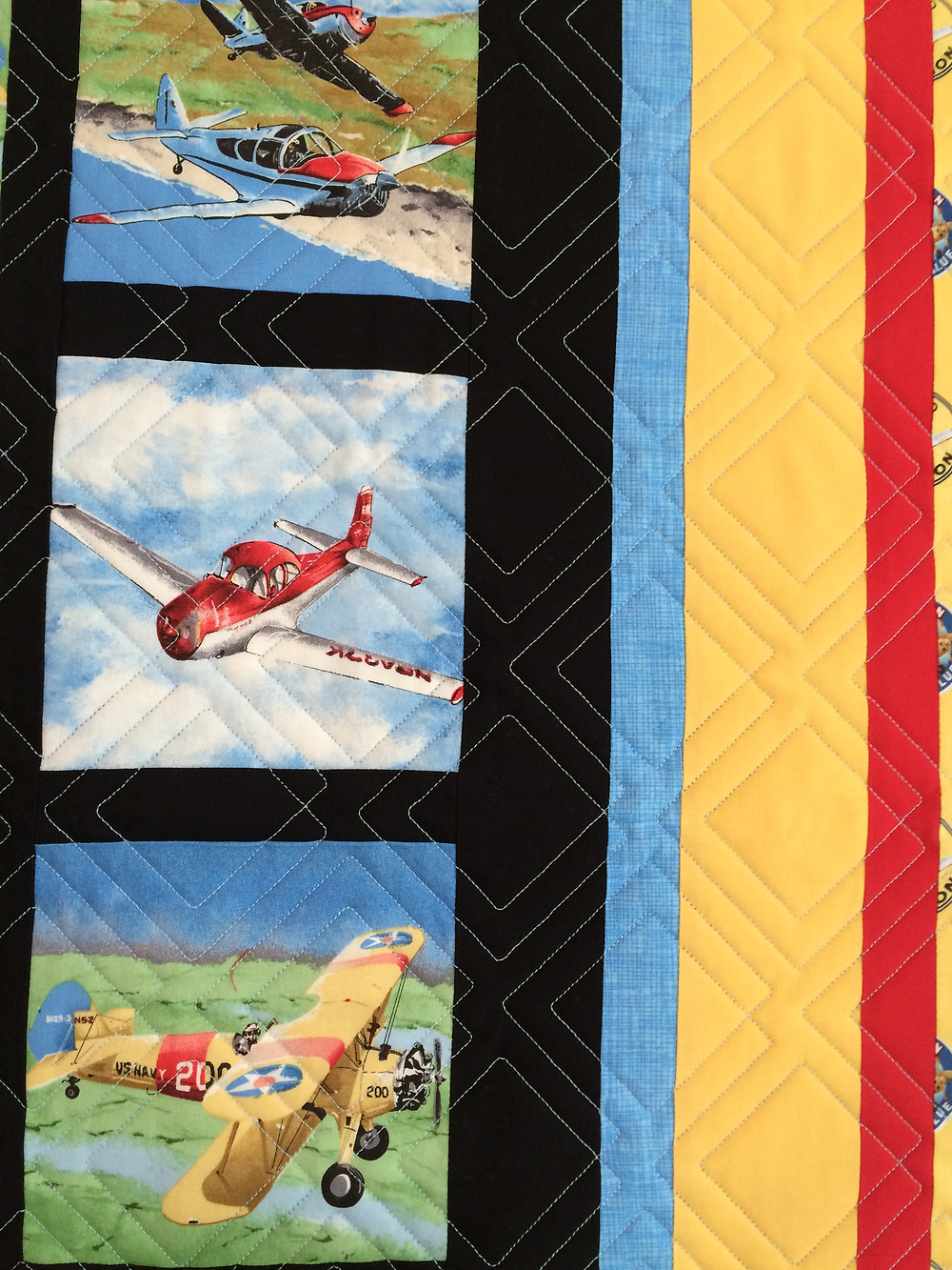 closeup of Leanne Strum Airplanes Quilt