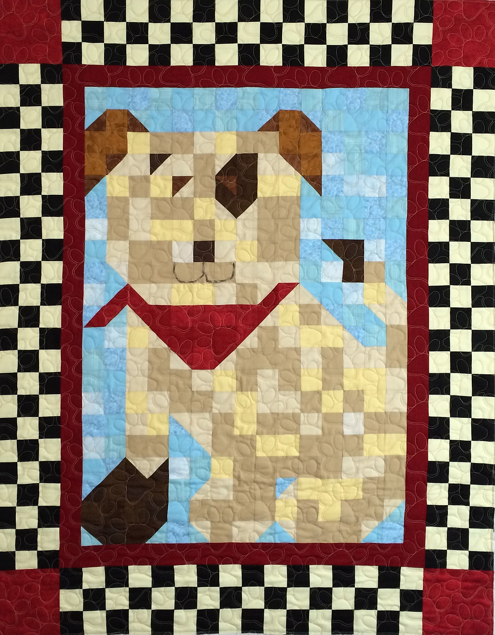 Patchwork Puppy Quilt with red bandana