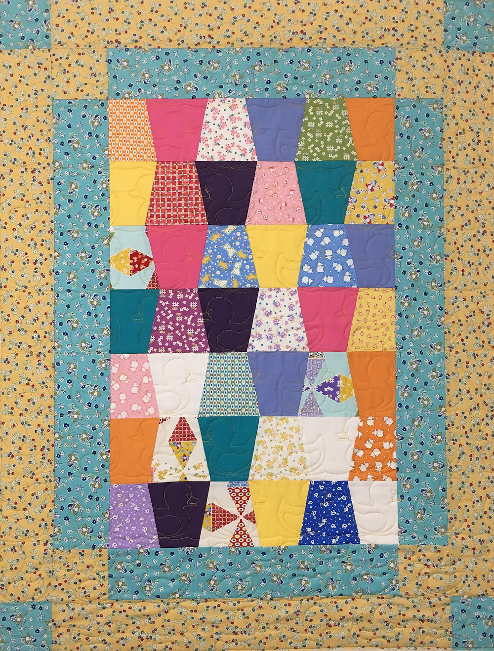 Tumbler Blocks Baby Quilt by Cindy Lovelace