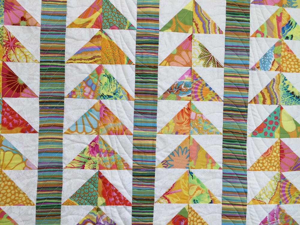 Close up of Sue Antle Flying Geese Quilt