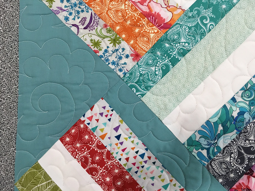 Quilting design on Melda's Jelly Roll Squares on Point Quilt