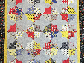 Cindy Lovelace Micky Mouse Double Square Star Quilt