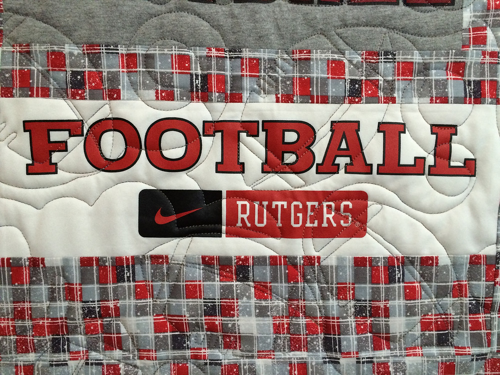 Close up of Joanne Barbieri Rutgers Football Quilt