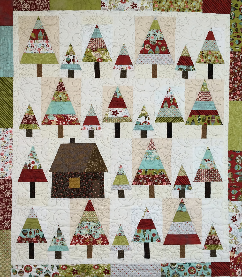 Jill Holiday Trees and House Quilt
