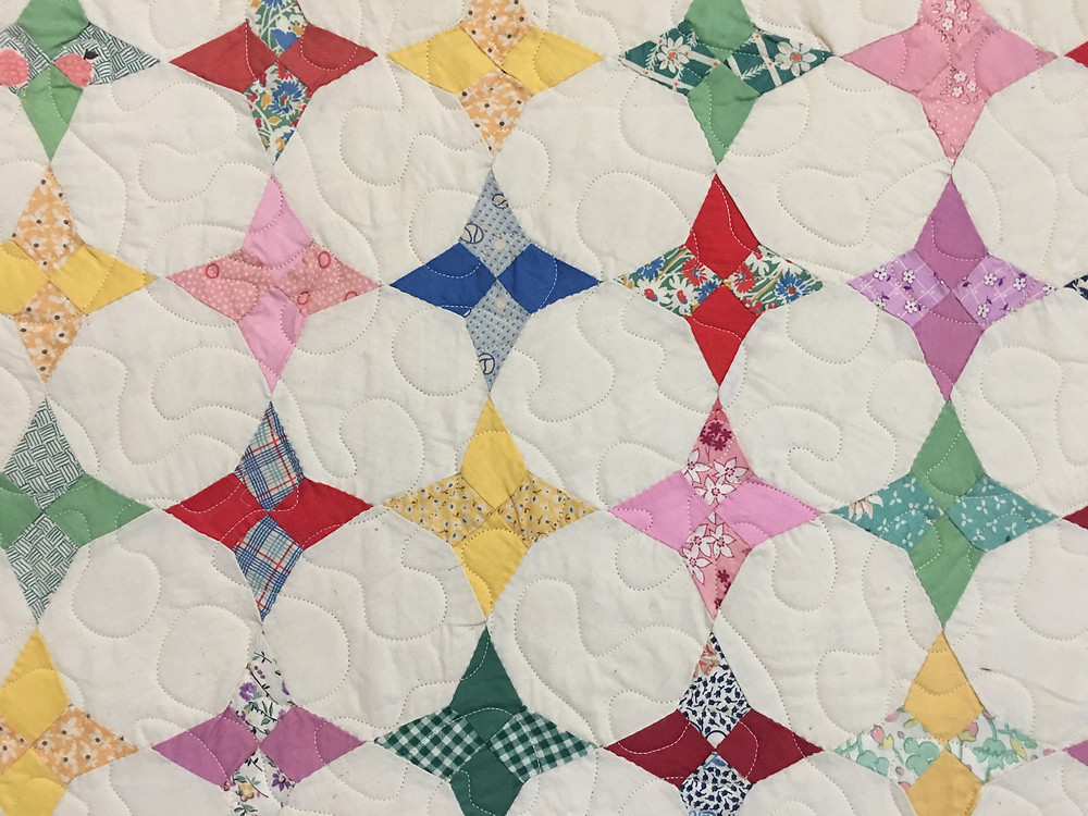 Meander Quilting Pattern on Antique Hand Pieced Quilt by Roxane Darnell