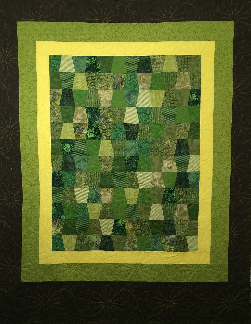 tumbler quilt in shade of green