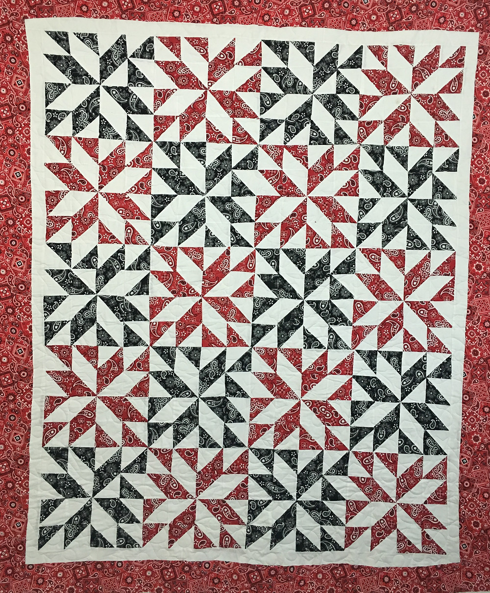 Red and Black Stars Quilt by Jefferson Sutton