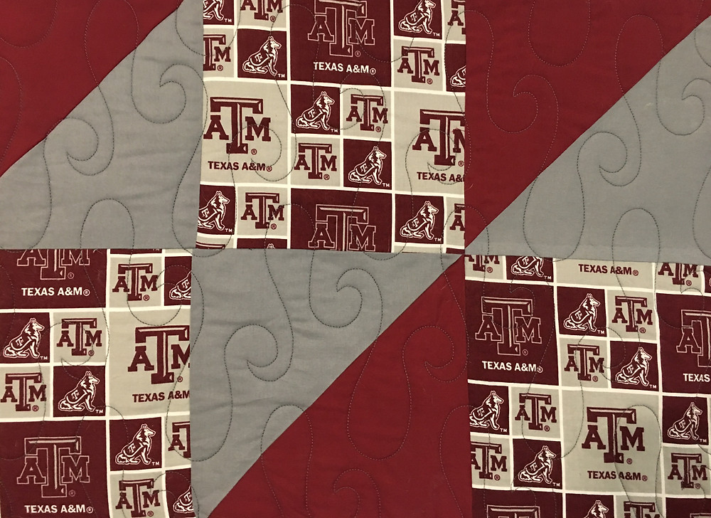 Swirls quilting pattern on Texas A and M College Quilt by Jefferson Sutton