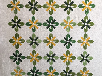 Jocelyn Ueng Green and Gold Sunflower Quilt
