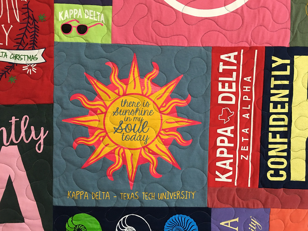 another closeup of Donnis t shirt quilt for daughter