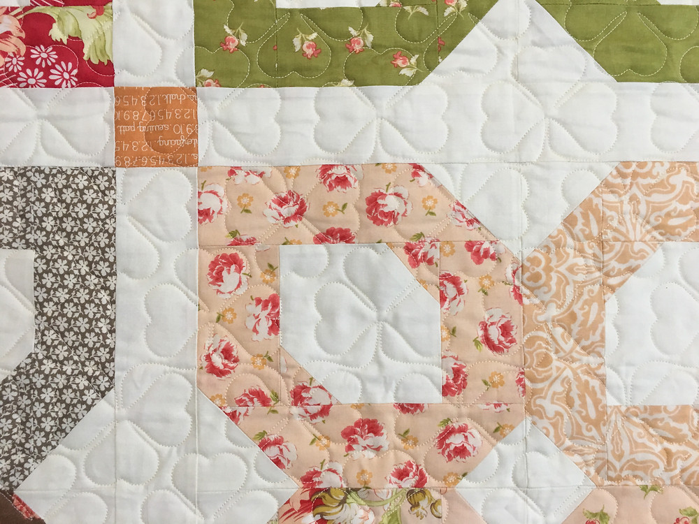 Leaves Quilitng Pattern on Fig Tree Pattern Quilt by Sally Matoushek