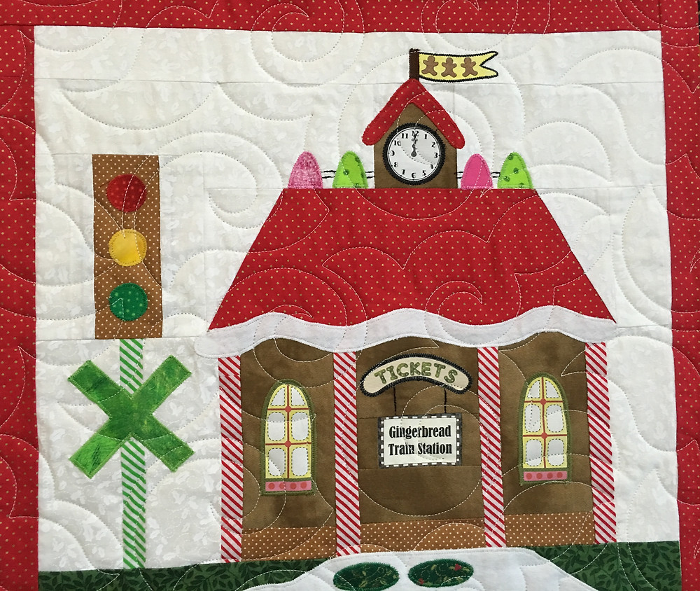 Train Station block on Gingerbread Village Quilt by Liz Zoch