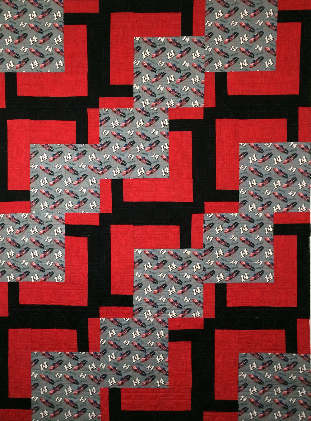 Tony Stewart Quilt, red and black quilt