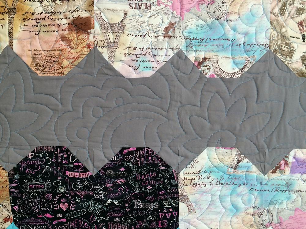 closeup of Jennifer Thomas Zig Zag Paris Theme Heart Quilt