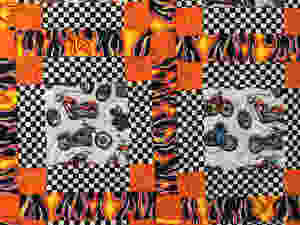 Meander quilting pattern on Motorcycles and Flames Quilt by Patricia Foret