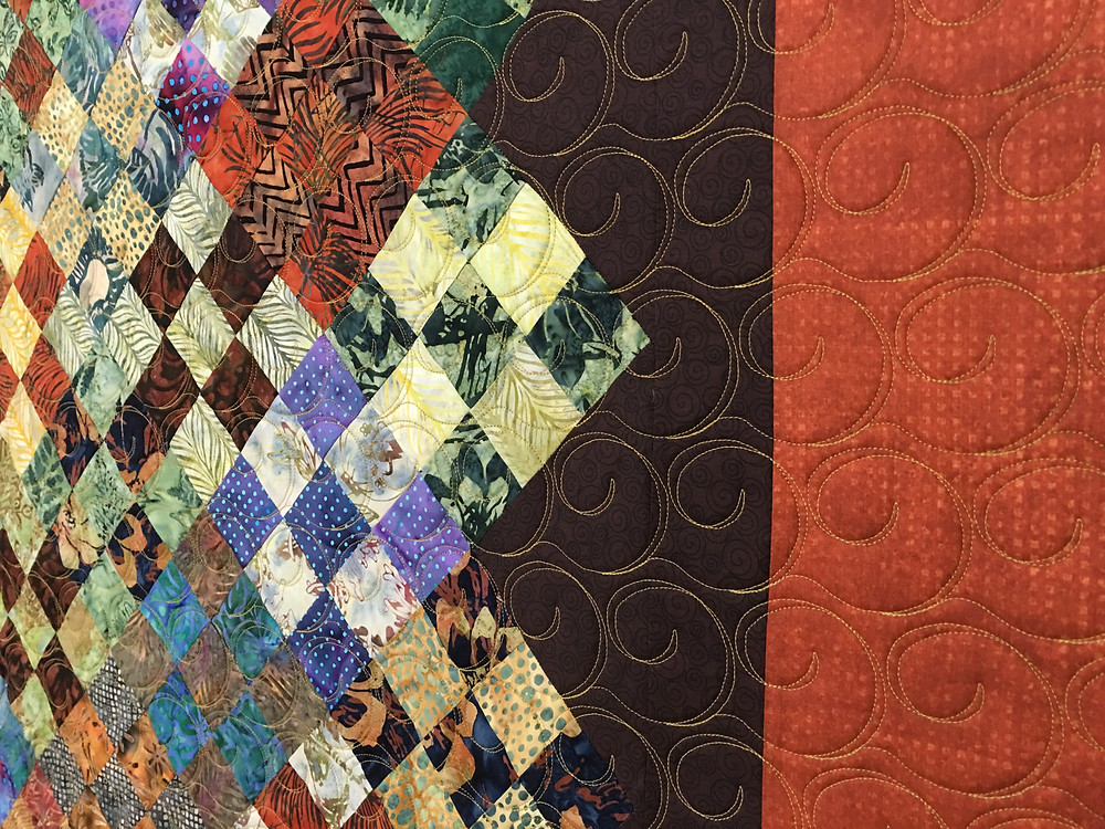 Another close up of Sue Scrappy Nine Patch on Point Quilt