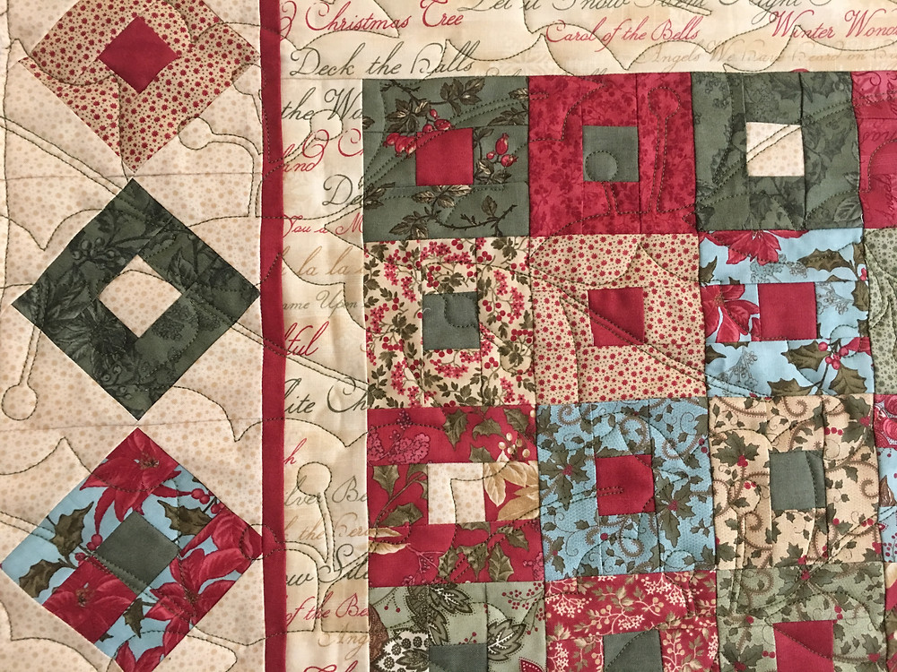 Holly Leaves quilting  pattern on Christmas Table Runner by Terry Manley