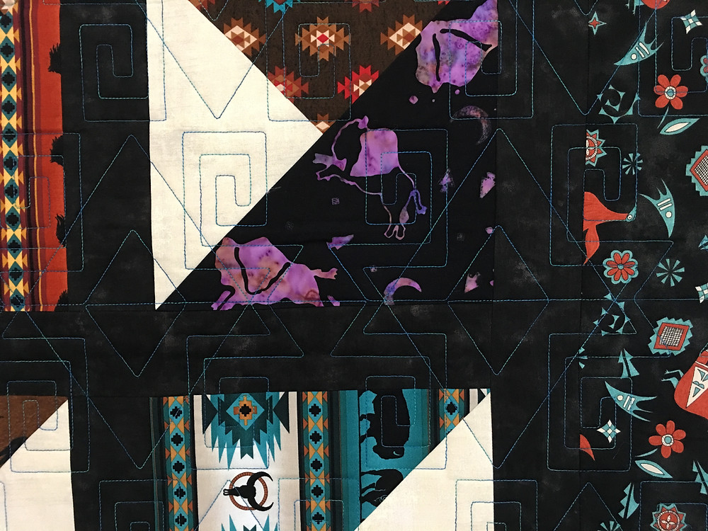 Geometric Quilting pattern on Southwestern Quilt by Terri Manley
