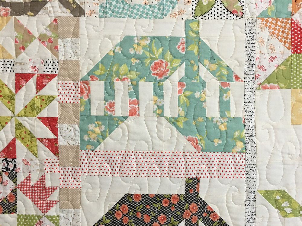 Meander Quilting Pattern on 2016 Block of the Month Quilt by Deb Taylor