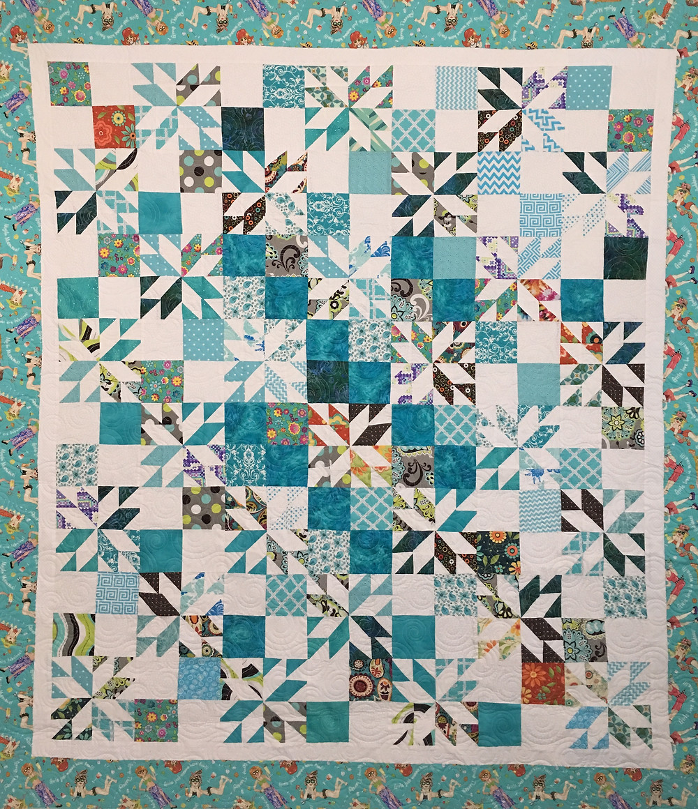 Stars and Squares quilt by Sandy Benson