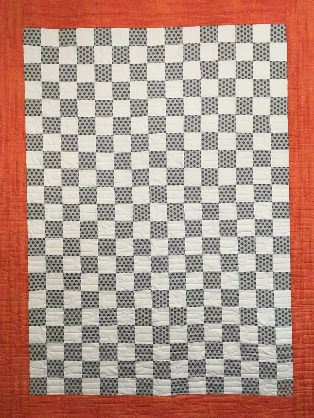 Gray and White Checkerboard quilt by Lisa Long