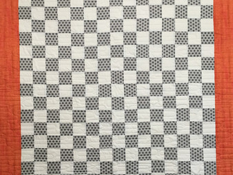 Lisa Long Gray and White Checkboard Quilt