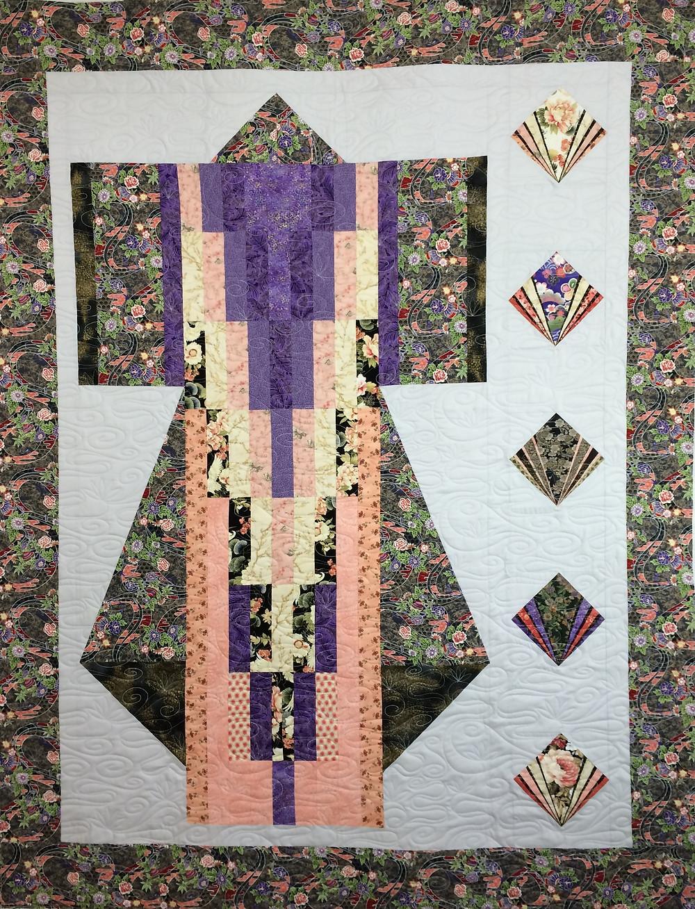 Formal Kimono quilt in beautiful oriental fabrics