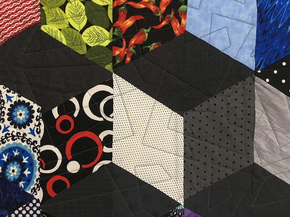 Geometric Quilting Pattern on 3D Squares Quilt by Sandy Benson