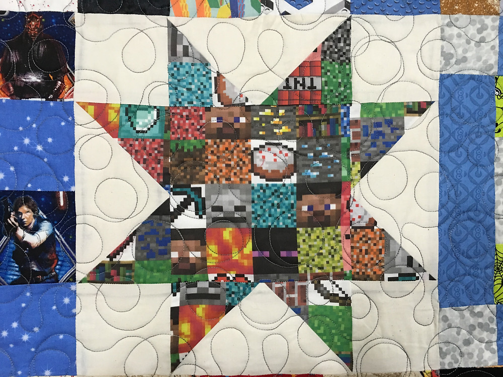 Closeup of Mrs. Maker Boys Memory Quilt
