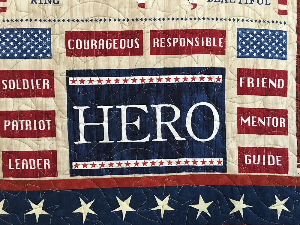 Stars quilting design on Leanne's Military Appreciation Quilt