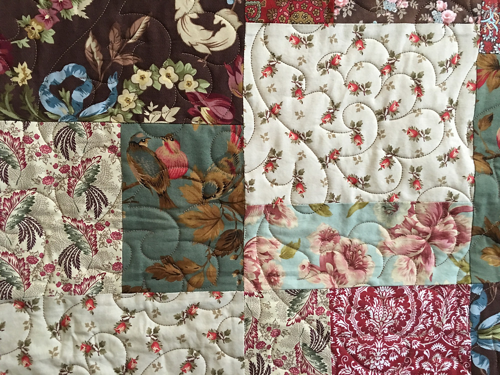 closeup of Jane Scrappy King Size Quilt