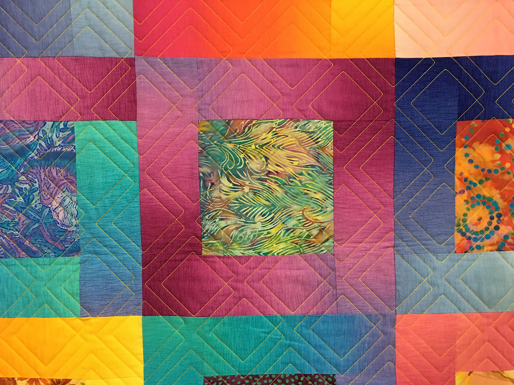 close up of quilting pattern on Linda Shields Quilt