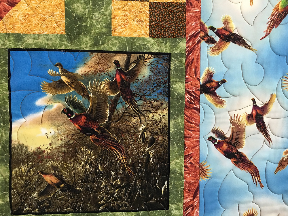 Quilting design on Pheasant Quilt by Joanne Kozlowsky