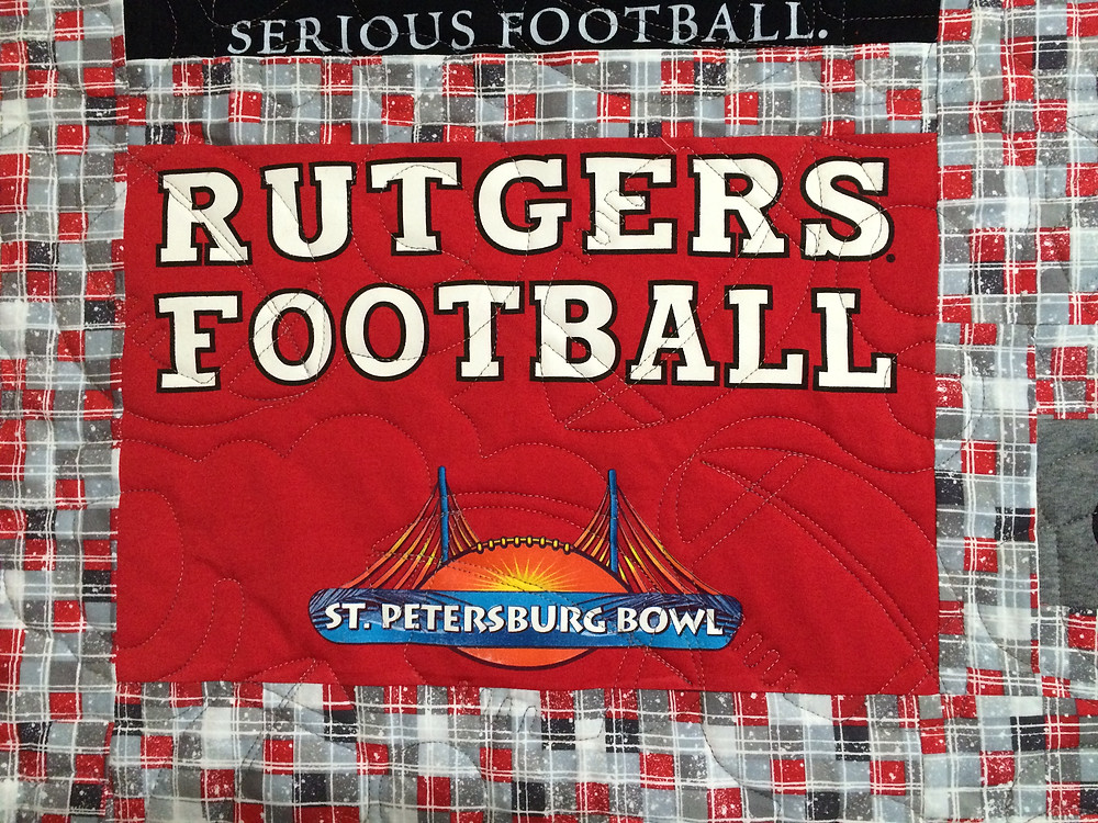 another close up of Joanne Barbieri Rutgers Football Quilt
