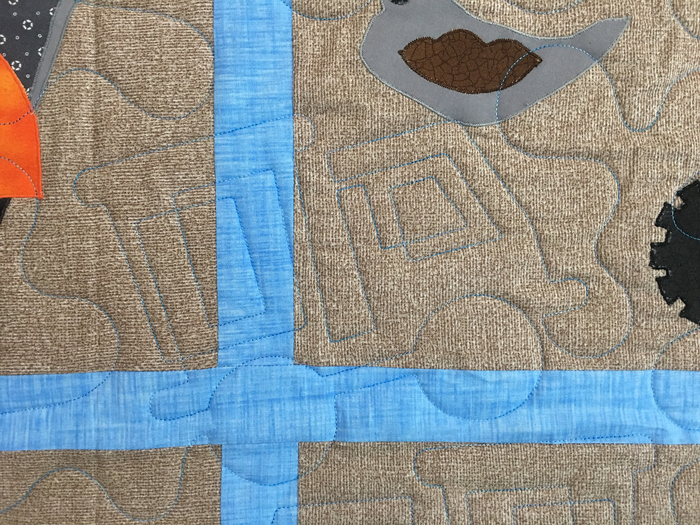 Tractor Quilting Pattern on I Love Dirt Quilt by Chris Olsen