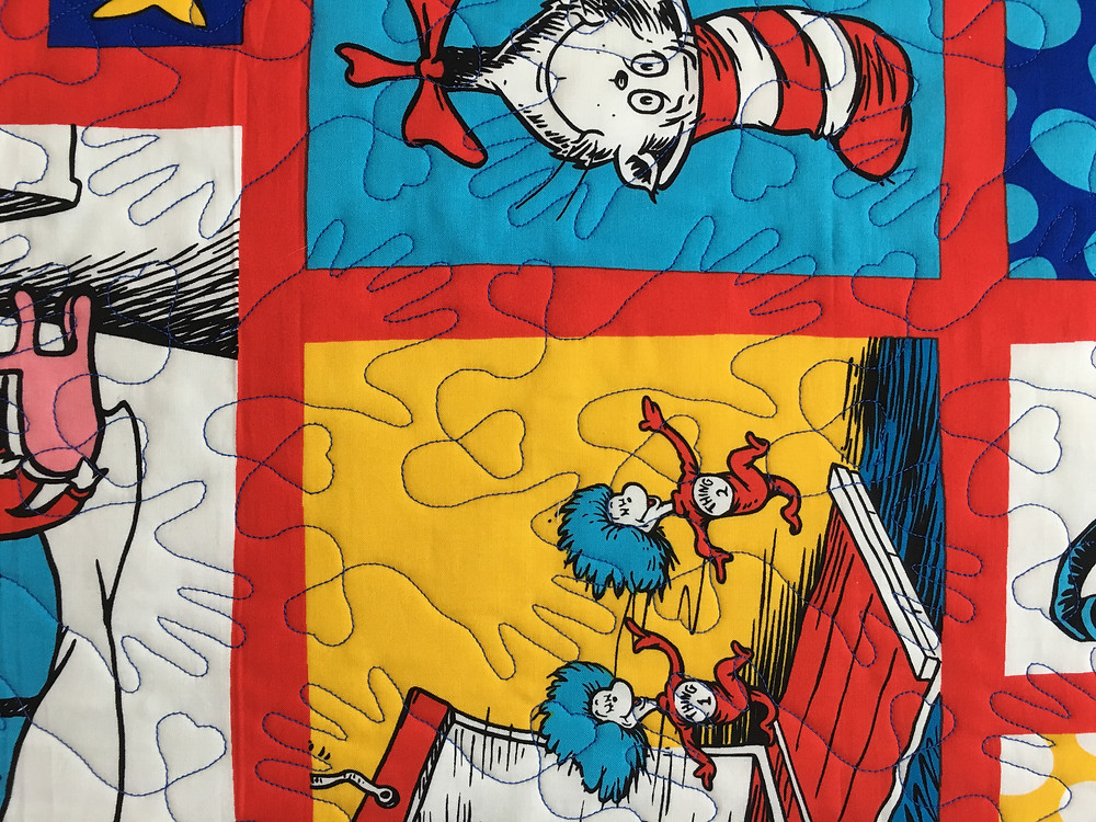 hand quilting pattern on Dr Seuss quilt by Wendy Bel
