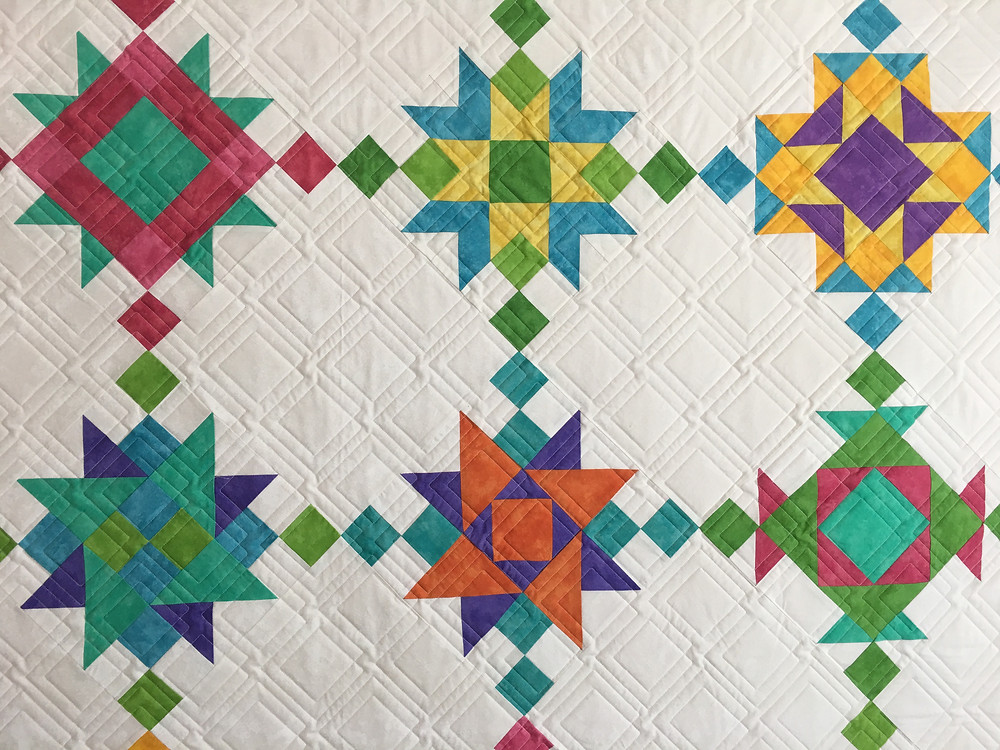 Geometric Quilting Pattern on New Age Block of the Month Quilt by Chris Olsen