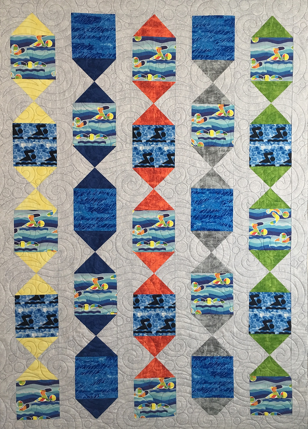 Swimmer Quilt by Nelda Savage